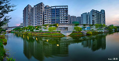 Punggol (Ken Goh thanks for 2 Million views) Tags: lighting longexposure blue sky panorama cloud reflection water colors architecture buildings landscape photography stitch pentax smooth wideangle flats tall 1020 simga k5iis