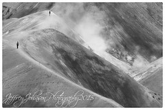 Kerlingarfjoll Iceland-3 (Jeffrey Johnson ~~shutter_fringe) Tags: road people blackandwhite bw cloud mountain mountains water monochrome landscape outdoors iceland highlands shadows outdoor hiking footprints ground off steam dirt clay highkey paths hotsprings f35 kerlingarfjll