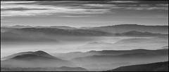 . (OverdeaR [donkey's talking monkey's nodding]) Tags: bw mountain cinema nature misty fog landscape conversion sony foggy crop peaks nikkor cinematic a7 f25 ais ratio 235 divcibare 105mm polje 2351 viewscape 10525 divčibare maljen tometino