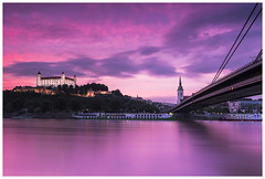 Colorful sunset behind Bratislava (Philipp Schweighofer) Tags: city travel bridge sunset sky color canon colorful europe cityscape philipp bratislava 2015 schweighofer 052015