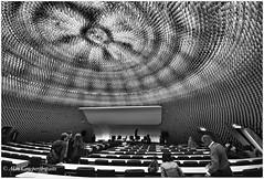 French Communist Party headquarters conference hall. Architect Oscar Niemeyer (alcowp) Tags: bw paris france monochrome niemeyer architecture politics nb communist fra 19e