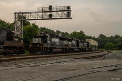 NS 223 meeting NS G90 at CP Bridge (travisnewman100) Tags: road bridge yard train georgia track norfolk terminal southern local division cp triple freight whitaker inman emd intermodal sd402 sd70m2 gp60 gp59