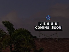 1 Sign of the Times (Mertonian) Tags: blue roof tree church clouds canon dark island star hawaii 1 evening crazy dusk bs jesus fake maui palm powershot negative sloth coming looney attention bluestar soon charade signofthetimes acedia jesuscomingsoon mertonian canonpowershotsx60hs robertcowlishaw sx60hs 1eveningcharade