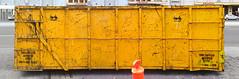 Melbourne (Sean Payne) Tags: colour yellow industrial steel australia melbourne marks scratch rubbishbin