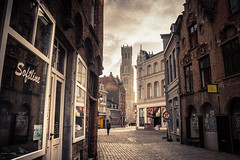 (Almost Alone)... in Bruges /(Presque) seul... (Gilderic Photography) Tags: street city trip travel reflection tower silhouette canon alone belgium belgique belgie brugge tourist bruges ville 500d beffroi gilderic