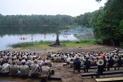 Firebowl (Alexandra Keathley) Tags: wood trees boy summer camp lake ford nature beautiful grass america one cub 1 sand kayak eagle michigan ceremony twin first scout betty scouts week leader opening welcome troop gerber reservation adventureland firebowl