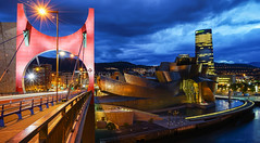 Bilbao city lights (TanzPanorama) Tags: spain bilbao city bridge guggenheim museum riverfront river night le longexposure tanzpanorama sonya7ii sony fe2470mmf4zaoss sel2470z travel architecture building vizcaya paisvasco bizkaya puentedelasalve lasalvebridge engineering euskadi sky bluehour cityscape europe capital ng basquecountry basque urban modern
