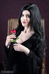 keeping it nerdy morticia 3 (CE Photogenetix) Tags: select morticia addamsfamily addams gothic goth cosplay costume halloween character portrait tv movie horror spooky creepy beauty beautiful woman female dark darkart gown canon40d christinaedwards rose flower