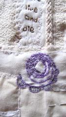 "Musings on ""Birth"" (scrappy annie) Tags: rolledbook rolledfabricbook fabricbook embroidered embroidery stitch handembroidery handstitch book bookart"