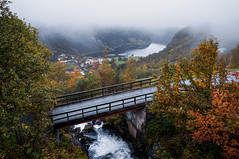 Bridge (Kari Siren) Tags: bridge river stream autumn geiranger norge norway fog mist sea