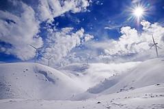 Snow-Wind-Sky-Clouds-Sun ! (GEORGE TSIMTSIMIS) Tags: blue white winter wind windmills achaia patras panachaikonmountain deep pentaxk1 ricohimaging wideangle 24mm cold freezing bellowzero high