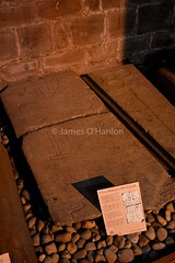 Cross slab of a blacksmith (James O'Hanlon) Tags: chester cheshire john baptist johnthebaptist church cathedral ruins norman medieval effigy stained glass chapel saint st