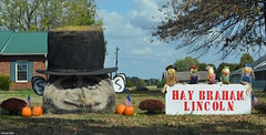 """""""HAY-Braham Lincoln"""" (Jake (Studio 9265)) Tags: hay bale art creative display artwork country rural usa united states america todd county ky kentucky fall 2016 abraham lincoln election political hat scarecrow pumpkins"""