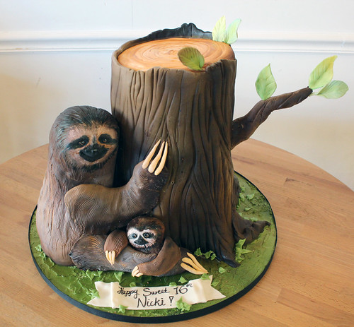 Sculpted Mom and Baby Sloth Cake
