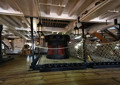 HMS Vicory's capstan (gillybooze) Tags: ©allrightsreserved hmsvictory lordnelson navalhistory ship belowdeck capstan nelson navy portsmouth cannon ropes deck lamps decking stairs