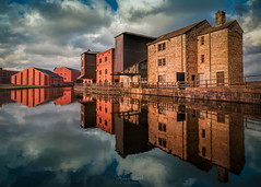 The Road To Wigan Pier (Adam West Photography) Tags: adamwest architecture brick canal clouds coal cotton england freflection history industrial lancashire manchester mill orwell pier stone uk warehouse water wigan