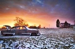 Desoto Sunset Sky (Dr. M.) Tags: sunset sunstar colorful desoto car landscape snow firedome hdr composition nikon d7000 tokina1116mm on1 winter nature natural ohio