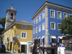 Sintra (VERUSHKA4) Tags: canon europe portugal town historic ville vue view rue travel street people summer july architecture wall building day sunny door sky bell blue yellow colourful window balcony iron detail verdure adress bellhouse