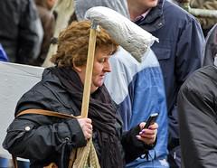 Superwoman a la Bette Midler (Frank Fullard) Tags: frankfullard fullard candid street portrair mop cleaber ready irish ireland lol fun work housewife wife cleaner husband superwoman scrub scrubber bettemidler