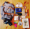 What's in your bag? (MelanieRobertsonPhotography) Tags: coins cash money dollars bubblegum wiyb whatsinyourbag bag tabernak book contents headphones sony wallet canon camera metro metrocard dollar bills phone earplugs hairband watch lotion quarters tissues glasses lighter wristband brown yellow pink blue white black lipstick pen sdcard