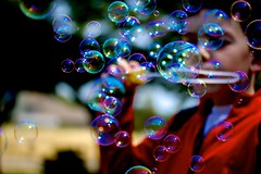Bubbles (kellimatthews) Tags: sunshine children outdoors bright bubbles depthoffield