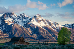 Grand Teton Morning (Chance Pruitt) Tags: morning mountain snow barn america sunrise landscape nationalpark hole jackson wyoming range grandteton moulton