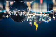 Frankfurt's Skyline at Night in a glass sphere (_flowtation) Tags: city nightphotography blue urban skyline night lights nikon cityscape skyscrapers bokeh frankfurt nightshift sphere ffm d4 tiltshift nikon45mm nikond4 nikon45mmpce nikonpce florianleist florianleistphotography florianleistde