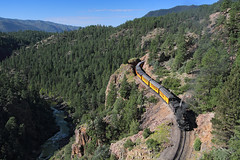 Crawling along the High Line (Moffat Road) Tags: railroad cliff train colorado co mikado locomotive highline narrowgauge rockwood steamlocomotive passengertrain 282 animasriver dsng touristtrain durangoandsilvertonnarrowgaugerailroad 3footgauge trainno461