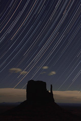 Stars and Left Mitten (Abbeenormal) Tags: longexposure nightphotography moon landscape astrophotography geology monumentvalley startrails navajonation startracks
