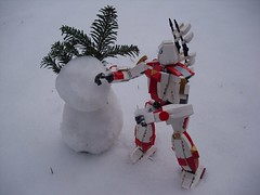 Snowman Building (Śląski Hutas) Tags: lego bricks mechs werewolf poland polska hussar wings futuristic scifi snow winter