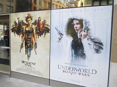 Resident Evil The Final Chapter and Underwood Blood Wars 1229 (Brechtbug) Tags: underworld blood wars 2017 february movie poster standee film kate beckinsale vampire hunter hunters resident evil comes home billboard sidewalk display destruction milla jovovich video game nyc 02042017 new york city cinema marquee flickr motion black white red graphic illustration scifi science fiction post apocalyptic future dystopia futuristic war zone female warrior amazon amazonian 13th street