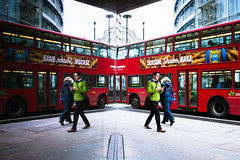 Season Shake Bake (Sean Batten) Tags: london england unitedkingdom gb bus green tfl publictransport city urban nikon df 35mm reflection glass window people traffic street streetphotography red
