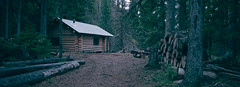 Life in the woods (Orion Alexis) Tags: 35mm film analog retro fujifilm superia 400 tx1 xpan woods forest cabin lodge log canada vintage panorama widescreen cinematic