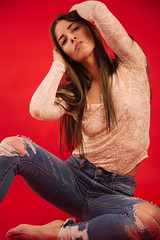 Rebecca (Leigh.Sellner) Tags: model female girly pink red kitchener studio bowens canon fashion hipster la senza hm