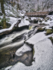 Below R.B. Ricketts Falls, 2017.01.24 (Aaron Glenn Campbell) Tags: rgsp rickettsglen statepark fairmounttownship luzernecounty nepa pennsylvania glenleigh fallstrail winter hiking kitchencreek cascades outdoors optoutside snow ice longexposure 3xp ±2ev hdr macphun aurorahdr2017 nikcollection analogefexpro colorefexpro sony a6000 ilce6000 mirrorless rokinon 12mmf2ncscs wideangle primelens manualfocus emount tiffen ndfilter 3stopfilter neutraldensity