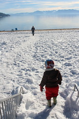 Walking from snow to sand (quinn.anya) Tags: sam preschooler snow sand lake sandharbor winter