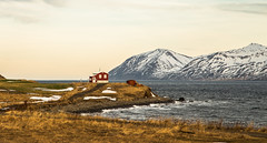 The red house once again. (joningic) Tags: sea red redhouse dalvíkurbyggð dalvík nature northiceland mountains mountain winter february