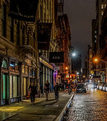 Downtown Cobblestones (Jeffrey Friedkin) Tags: jeffreyfriedkinphotography architecture buildings city cityscene downtown evening chryslerbuilding manhattan newyork nyc newyorkphoto newyorkscene night outdoors street streetscene soho y