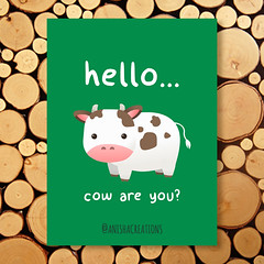 Good Mooorning! (Anisha_Creations) Tags: cute cow funny adorable kawaii geek green nature animal cattle humor puns wordplay lol cartoons kids vector baby cutie hello greetings good mood hi character happy friends friendly friendship morning goodmorning positive