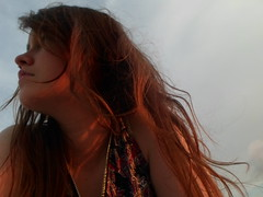 colors (Lola Massotti) Tags: red portrait orange woman colors girl hair relax outside rojo chica perfil retrato live think perspective dia vida reflejo perspectiva fin naranja pensar pelo fuera composicion tenue pensativa