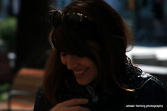 19-IMG_1881 Smiler (marinbiker 1961) Tags: sunglasses smiling spanish jacket brunette santaeulalia