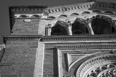architectural structures, forms, and movements, -Basilica di Santa Margherita, Cortona, Tuscany, Italy, nikon D40, nikon nikkor 55mm f-3.5, 10.31.15 (steve aimone) Tags: santa blackandwhite italy monochrome architecture architecturaldetail tuscany cortona movements margherita santamargherita rhythms primelens nikond40 nikonprime architecturalforms nikonnikkor55mmf35