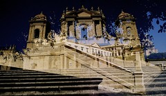 NOTO through double exposure look (m.sukhanenko) Tags: sky italy holiday tree history film stairs iso200 ancient shadows doubleexposure perspective noto multipleexposure sicily analogue 24mm traveling leafs olympusom10 wideanglelens