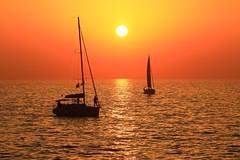 Sailing at sunset - Tel-Aviv beach (Lior. L) Tags: sunsetsailboats sailing sunset telavivbeach tlv telaviv sea sail