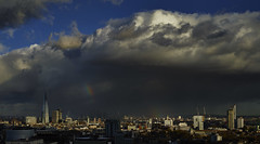 Storm Clouds And Rainbows Over The City (Tbant) Tags: london from above city shard rainbow rainbows storm clouds dark skies sky big blue sun bright grey phase one 55mm iq180 medium format unusual stone parliament parliamentaryarchives victoriatower the england greatbritain passing light travel uk cityscape
