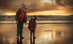 Love (Windermere Images) Tags: boys beach memories wales brothers sea ocean waves sky sunset love fun laughter winter january sand wet together admiration