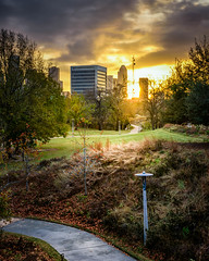 A Run in With the Sun (adamkylejackson) Tags: houston texas park sunrise sunriss morning dawn sunset sunsets walking pathway path grass trees buildings architecture city cityview citypark cityscape landscape skyscraper