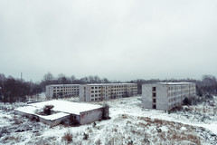 Three Abandoned Blocks (Ralph Graef) Tags: plattenbau block housing urbanization urban dilapidated desolation desolate drabness dreary winter snow gssd soviet prefab decay