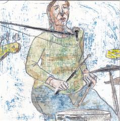 "# 015 (2017-01-15) (h e r m a n) Tags: muziek music musica muzika gitaar guitar zangeres singer meisje vrouw girl woman herman illustratie tekening drawing illustration dagboek diary journal ""studiodebakkerij"" rotterdam bergweg gistpodium ongeregeld drums drummer deheteen hettyvanwijk"
