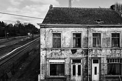By the railway line (John fae Fife) Tags: fujifilmx noiretblanc railwaysline bw nb empty hainault contrast monochrome derelict belgium blackandwhite railway building unoccupied labelgique